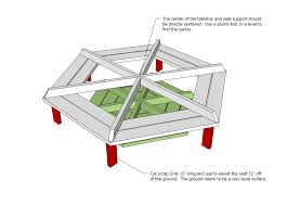Build Your Own Round Wood Picnic Table by Ana White Hexagon Picnic Table Diy Projects
