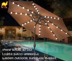 Solar Patio Umbrella Lights by Amazon Com Strong Camel 9 U0027new Solar 40 Led Lights Patio Umbrella
