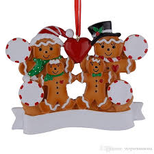 wholesale resin gingerbread family of 4 ornaments with