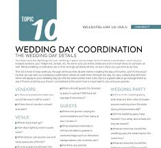 day of wedding coordinator wedding day details checklist