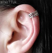 silver criss cross ear cuff helix cartilage clip on earring