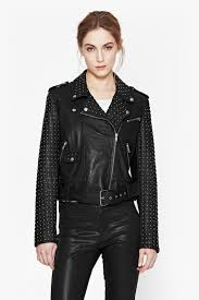 biker waistcoat chaos leather studded biker jacket collections french connection