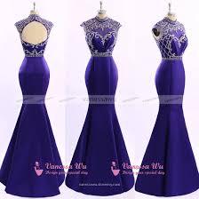 beaded cap sleeve prom dress with high neck cap sleeve royal blue