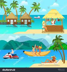 flat style tropical resort activity website stock vector 393285529