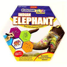 indian elephant colorfoldz self aligning stencil coloring book