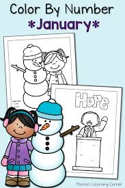 color by number worksheets january mamas learning corner