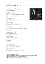 worksheet hello by adele present perfect