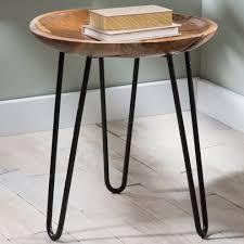 Wood And Metal End Table Teak Wood And Metal Side Table Vivaterra