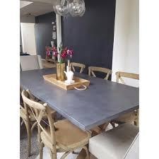 aberdeen industrial zinc top weathered oak trestle dining table by