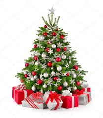 christmas tree and gifts in red and silver u2014 stock photo