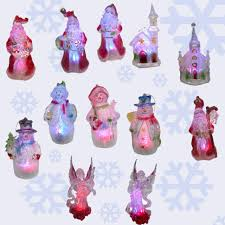 set of 12 lighted led color changing ornaments