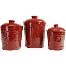 kitchen canister set signature housewares sorrento kitchen canisters ruby 3pc
