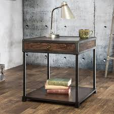table industrial nightstand end beam steel and intended for