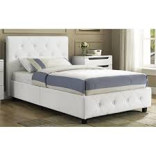 What Is Twin Size Bed by Upholstered Faux Leather Twin Bed In White 4027119