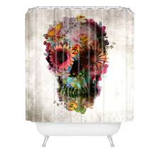 ali gulec gardening floral skull shower curtain deny designs