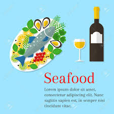 wine bottle platter seafood platter vector flat illustration cooked salmon fish