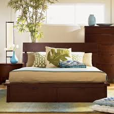 bedroom brown wooden platform bed with head board and drawer