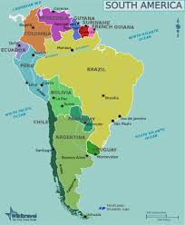 map of central and south america with country names south america wikitravel