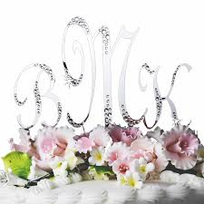 crystal accented monogram wedding cake topper set