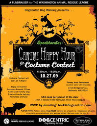 canine happy hour and costume contest flyer
