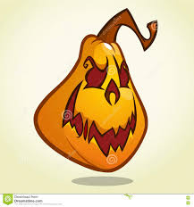 vector halloween cartoon pumpkin head with an evil expression on his face vector