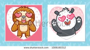 sloth valentines day card set valentines day cards characters stock vector