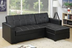 Black Faux Leather Sofa Sectional Sofa Sleeper F7894 Furniture Broker
