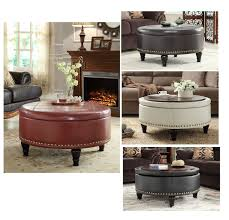 Nailhead Storage Ottoman Inspired By Bassett Augusta Wood Legs Eco Leather Storage