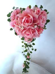 bouquet en papier bouquet de mariée rose en forme de coeur perle rose fleur