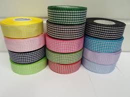 gingham ribbon blue 2 metres or roll x 25mm gingham ribbon sided