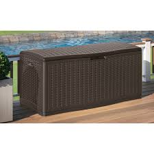 Storage For Patio Cushions Keter Brightwood Resin 120 Gallon Outdoor Storage Deck Box Hayneedle