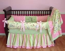 Pink And Green Crib Bedding Pink Toile Bedding For New Decoration