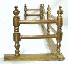 antique arts crafts fireplace brass gate rail fire rail screen