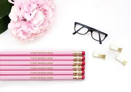 custom personalized pencils your words 12 24 48 72 pink