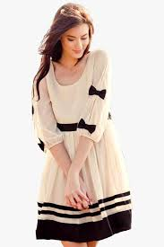 buy fusion wear cute dresses with sleeves bows white solid