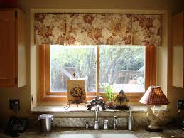 kitchen window treatment ideas pictures great handmade brown fabric geometric patterns valance kitchen
