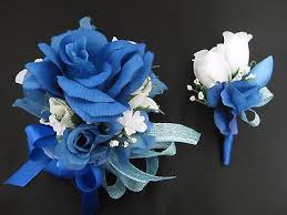 royal blue boutonniere prom royal blue white flower wrist corsage boutonniere set or