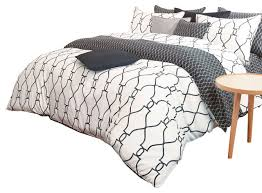 silver fern decor reversible sateen charcoal and white queen