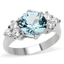 rings zirconia images Women 39 s stainless steel blue and clear cubic zirconia jpg