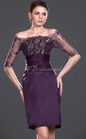 sheath column off the shoulder with sleeves short mini grape lace