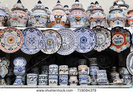 Handmade Mexican Pottery - handmade pottery handpainted talavera pottery puebla stock photo
