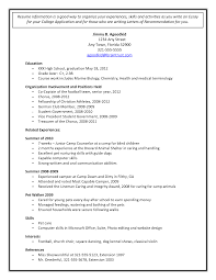 Example Of Student Resume How To Write A Resume For College Application High Senior
