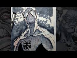 how to draw spider man inks u0026 copic marker youtube