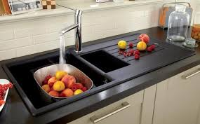 Lamona Black Granite Composite  Bowl Sink With Lamona Chrome - Black granite kitchen sinks