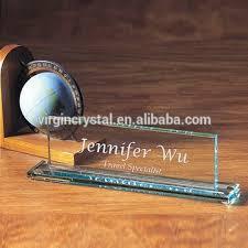 plaque de bureau personnalisé en gros personnalisé fait gravé cristal verre bureau bureau nom