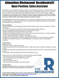 for richmond seeking sales assistant council of industries