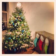 our blue green red silver and gold christmas tree casa