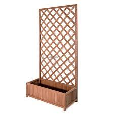 traliccio legno con fioriera in legno trattato esterni 75x150x30cm colore douglas 628