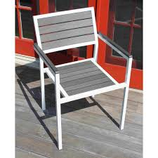 Winston Patio Furniture by Winston Outdoor Powder Coated White Aluminum Grey 5 Piece Dining