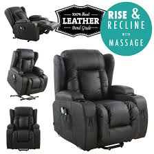 Leather Armchair Caesar Electric Rise Recliner Winged Leather Armchair Massage